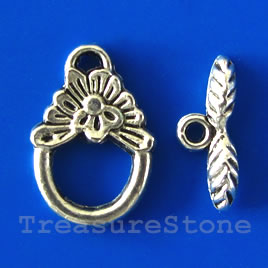 Clasp, toggle, antiqued silver-finished,11x15mm. Pkg of 14.