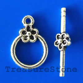 Clasp, toggle, antiqued silver-finished, 14/25mm. Pkg of 8.