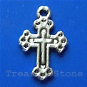 Pendant/charm, silver-finished,12x16mm cross. Pkg of 15.