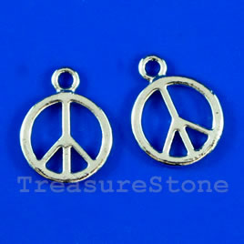Pendant/charm, 14mm peace symbol. Pkg of 6.