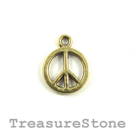Charm/Pendant, 14mm peace symbol. Pkg of 6.