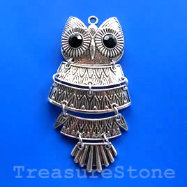 Pendant, silver-finished, 41x92mm owl. Sold individually.