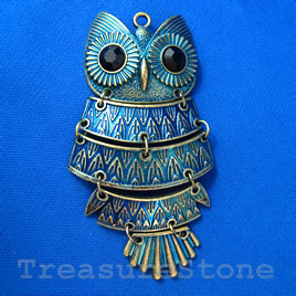 Pendant/charm, blue-finished, 41x92mm owl. Sold individually.