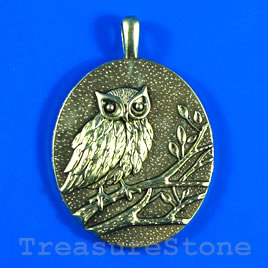 Pendant, gold-finished, 42x49mm owl. Sold individually.