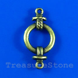 Link, antiqued brass-finished, 19x28mm. Pkg of 10.