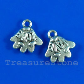 Pendant/charm, 10x13mm hand with LOVE. Pkg of 10.