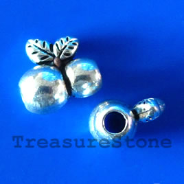 Bead, silver-finished, 11x7mm. Pkg of 8.