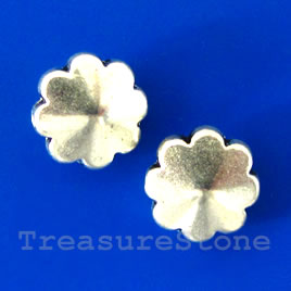 Bead, silver-finished, 10x4mm flower. Pkg of 12.