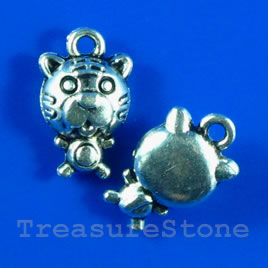 Pendant/charm, silver-finished, 13mm tiger. Pkg of 6.