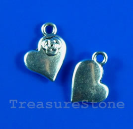 Pendant/charm, silver-finished, 8x20mm heart. Pkg of 15.