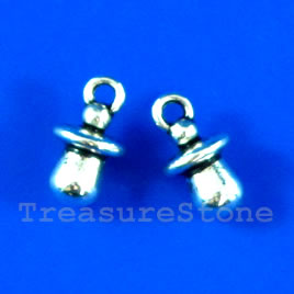 Charm, silver-finished, 7x10mm. Pkg of 15.