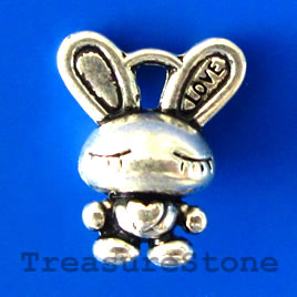 Charm/pendant, silver-plated, 14x17mm rabbit. Pkg of 8.