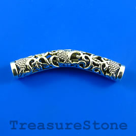 Bead,silver-plated,45mm filigree curved tube. Sold individually.