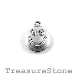 Charm/Pendant, silver-plated, 12mm happy face. Pack of 12.