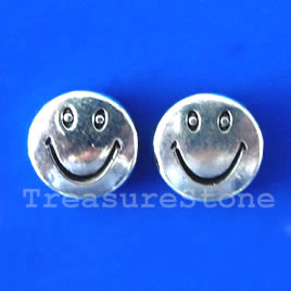 Bead, silver-finished, 10mm flat happy face. Pkg of 15.