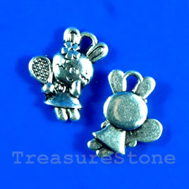 Pendant/charm, silver-finished,11x16mm bunny. Pkg of 15.