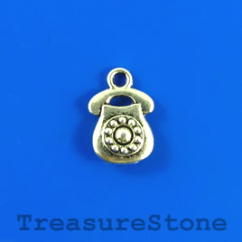 Charm/pendant, silver-plated, 10x12mm telephone. Pkg of 10.