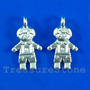 Pendant/charm, silver-finished, 9x13mm boy. Pkg of 15.