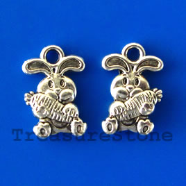 Charm, silver-plated,10x15mm rabbit. Pkg of 15.