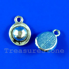 Pendant/charm, silver-finished,10x11mm hat. Pkg of 15.