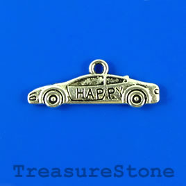 Charm/pendant, silver-plated, 10x27mm car. Pkg of 9.