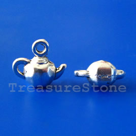 Charm, silver-plated, 7x12mm teapot. Pkg of 15.