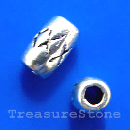 Bead, antiqued silver-finished, 5x3mm tube. Pkg of 25.