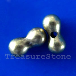 Bead, silver-finished, 9x4mm bean. Pkg of 20.