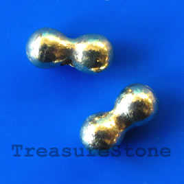 Bead, gold-finished, 4x9.5mm bean. Pkg of 20.