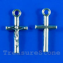 Pendant/charm, silver-finished, 9x15mm crucifix. Pkg of 15.