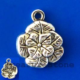Charm/pendant, silver-plated, 14mm flower. Pkg of 12.