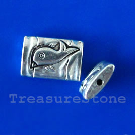 Bead, antiqued silver-finished, 10x14x3mm. Pkg of 12.