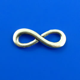 Charm/link, silver-finished, 8x23mm infinity. Pkg of 10.
