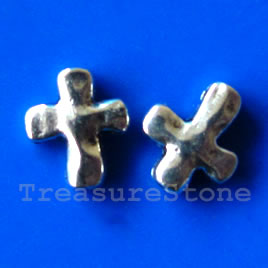Bead, silver-finished, 12x14mm cross. Pkg of 12.