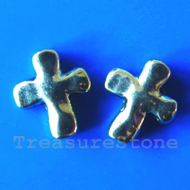 Bead, gold-finished, 12x14mm cross. Pkg of 12.