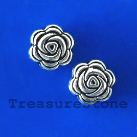 Bead, silver-finished, 8x4mm flat flower. Pkg of 15.