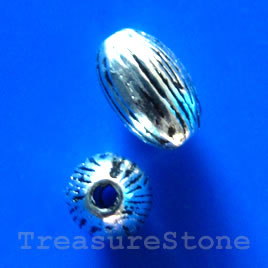 Bead, antiqued silver-finished, 6x9mm oval. Pkg of 15.
