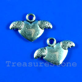 Pendant/charm, silver-finished, 9x18mm heart. Pkg of 12.