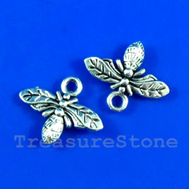 Charm, silver-finished, 10x16mm bee. Pkg of 12.