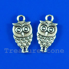 Pendant/charm, silver-finished,10x15mm owl. Pkg of 11.