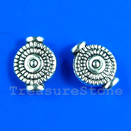 Bead, antiqued silver-finished, 8x10mm. Pkg of 18.