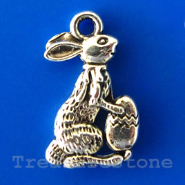 Charm/pendant, 10x14mm easter bunny. Pkg of 15.
