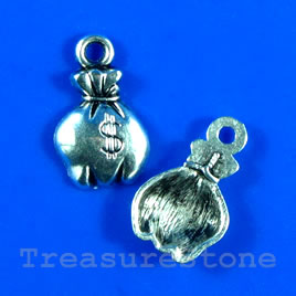 Pendant/charm, 12x15mm money bag. Pkg of 12.