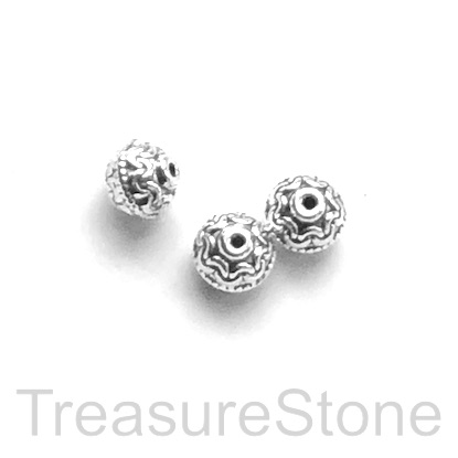 Bead, antiqued silver-finished, 6x7mm. Pkg of 15.