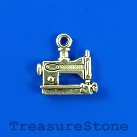 Charm/pendant, silver-plated, 12x15mm sewing machine. Pkg of 10