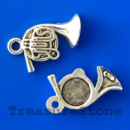 Charm/pendant, 12x14mm french horn. Pkg of 12.
