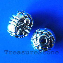 Bead, antiqued silver-finished, 7x8mm. Pkg of 12.