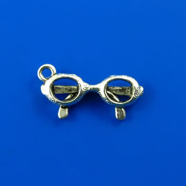 Charm, silver-finished, 10x21mm glasses. Pkg of 10.