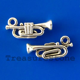 Charm/pendant, silver-plated, 6x18mm bugle. Pkg of 15.