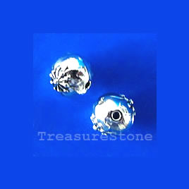 Bead, antiqued silver-finished, 8mm round. Pkg of 15.